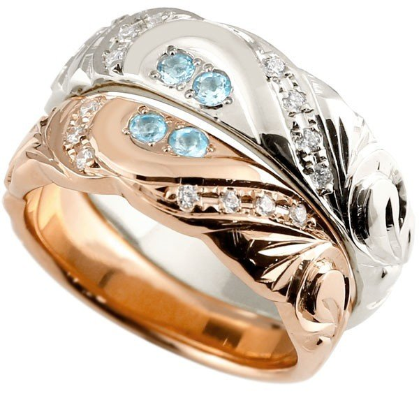 当店在庫してます! ハワイアンジュエリー マリッジリング 結婚指輪 ペアリング ブルートパーズ ダイヤモンド ピンクゴールドk10 ホワイトゴールドk10 幅広 ハート 10金 送料無料, 最新 a46c0029