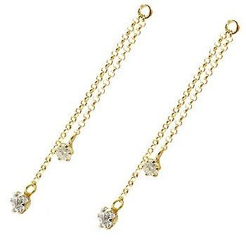 2個 パーツ ピアス用 イヤリング用 イエローゴールドk18 ダイヤモンド シンプル レディース 宝石 送料無料