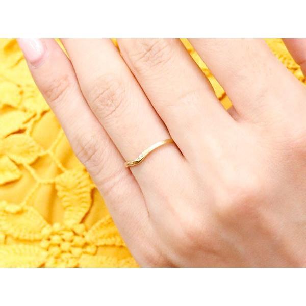 結婚指輪 安い ペアリング マリッジリング ダイヤモンド イエローゴールドk18 プラチナ V字 つや消し 一粒 18金 スイートペアリィー インフィニティ 最短納期 atrus 05