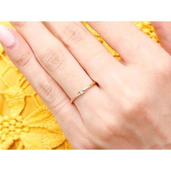 結婚指輪 安い スイートペアリィー インフィニティ ペアリング 結婚指輪 ダイヤモンド ピンクゴールドk18 プラチナ900 S字 つや消し 一粒 18金 華奢 最短納期 atrus 05
