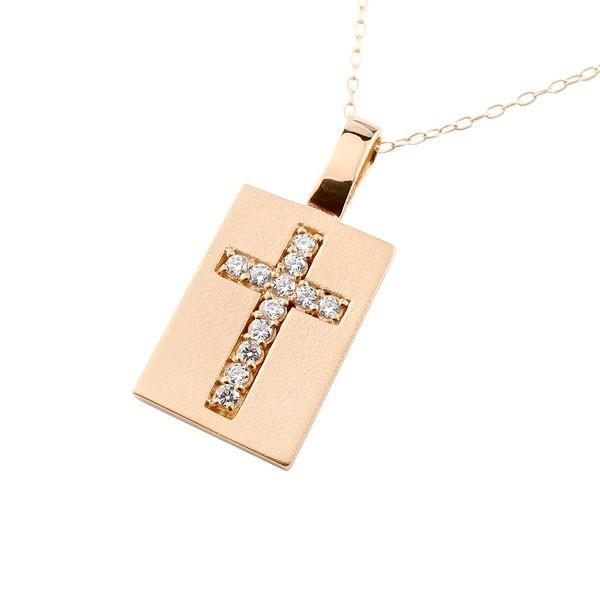 割引発見 メンズ プレート クロス ネックレス キュービックジルコニア ピンクゴールドk10 ペンダント 十字架 チェーン 人気 10金 レディース 送料無料, チュウオウチョウ 7b1c61fd