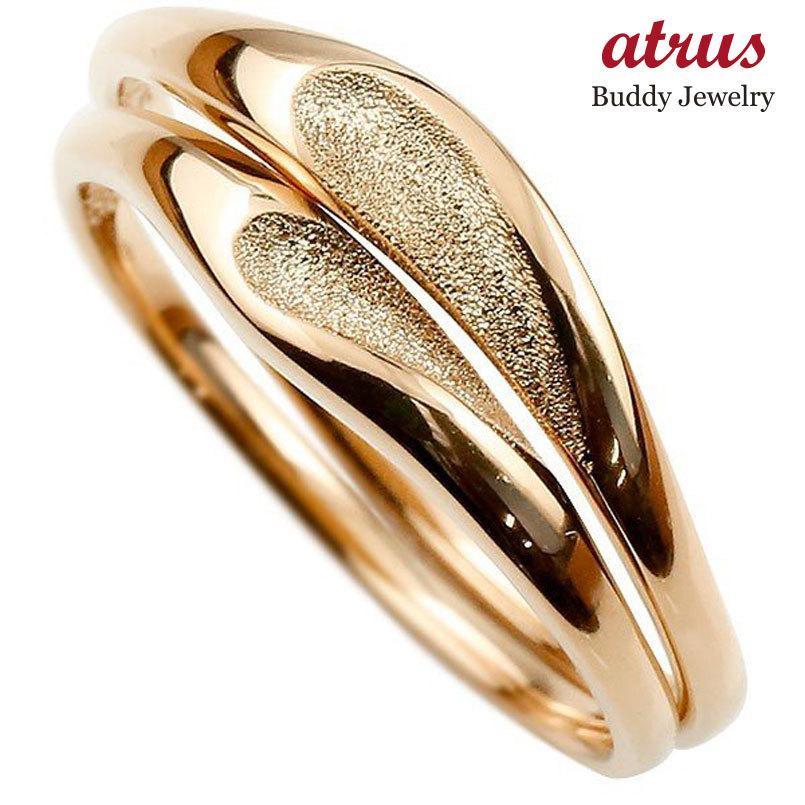 ペアリング 結婚指輪 マリッジリング ハート ピンクゴールドk18 18金 シンプル つや消し スターダスト加工 ストレート スイートペアリィー カップル 最短納期 atrus