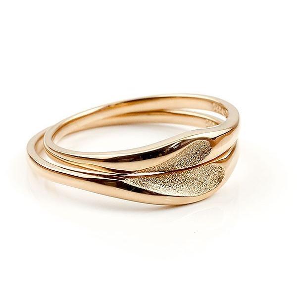 ペアリング 結婚指輪 マリッジリング ハート ピンクゴールドk18 18金 シンプル つや消し スターダスト加工 ストレート スイートペアリィー カップル 最短納期 atrus 03