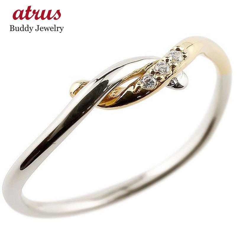 超人気新品 ピンキーリング プラチナ ダイヤモンド イエローゴールドk18 結び リング エンゲージリング 指輪 pt900 18金 華奢 指輪 ダイヤ コンビ 送料無料, 半纏着物屋 木南堂 66ce1104