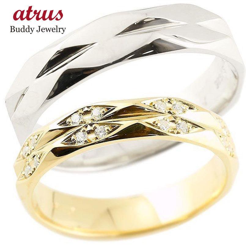 登場! メンズ ペアリング ダイヤモンド ホワイトゴールドk18 イエローゴールドk18 結婚指輪 マリッジリング カットリング 菱形 k18 18金 宝石 送料無料, ワールドモーターライフ f1277cd4