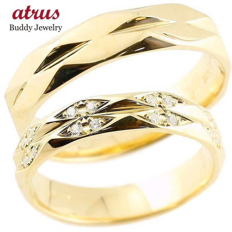 人気満点 ペアリング ダイヤモンド イエローゴールドk10 結婚指輪 マリッジリング カットリング 菱形 k10 10金 宝石 送料無料, キンチョウ 0a54b0ef