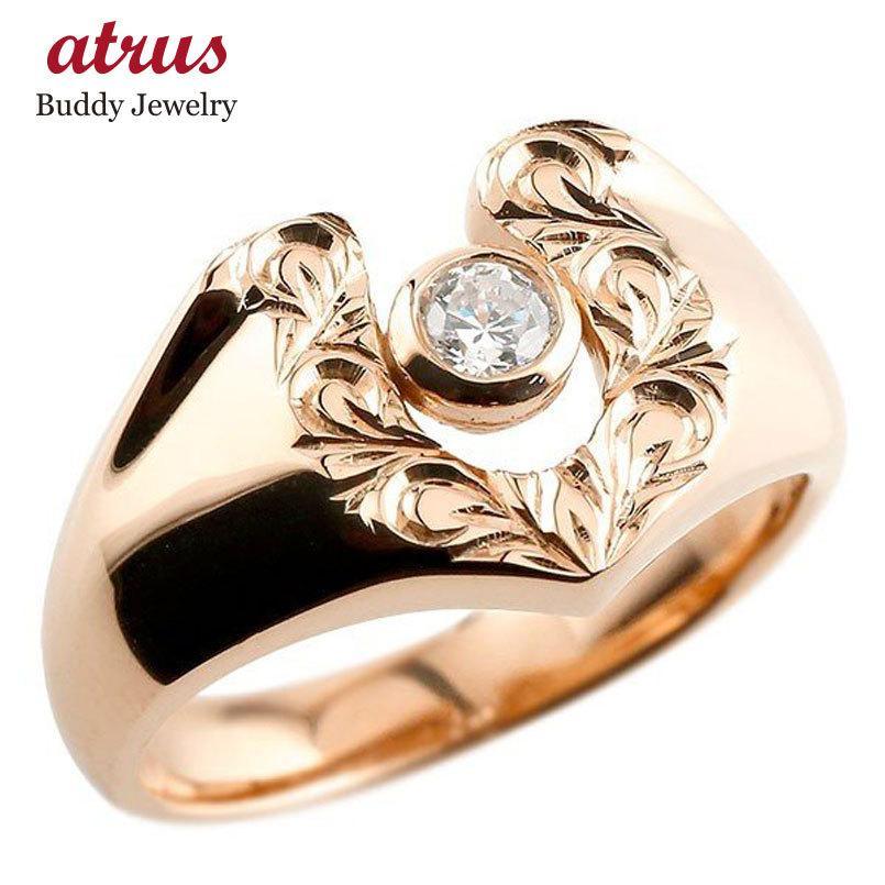 【上品】 ハワイアンジュエリー メンズ ダイヤモンド ピンクゴールドk18 リングスクロール 印台 指輪 ダイヤ 一粒 ダイヤモンドリング 18金 蹄鉄 幅広 ストレート 男性用, 女満別町 62610227