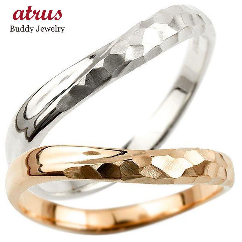 人気沸騰ブラドン ペアリング ホワイトゴールドk10 ピンクゴールドk10 結婚指輪 マリッジリング 結婚式 槌目 槌打ち ロック仕上げ 10金 地金 緩やかなV字 送料無料, 銀座エアポート静岡 dd66e5a7