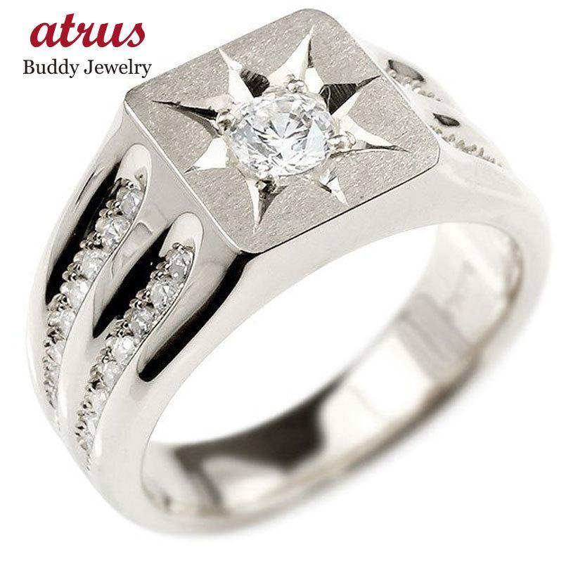 【レビューで送料無料】 メンズ リング ダイヤモンド シルバー925 幅広 印台 指輪 リング ダイヤ 一粒 大粒 つや消し ホーニング加工 sv925 男性用 送料無料, 新治村 99255a38