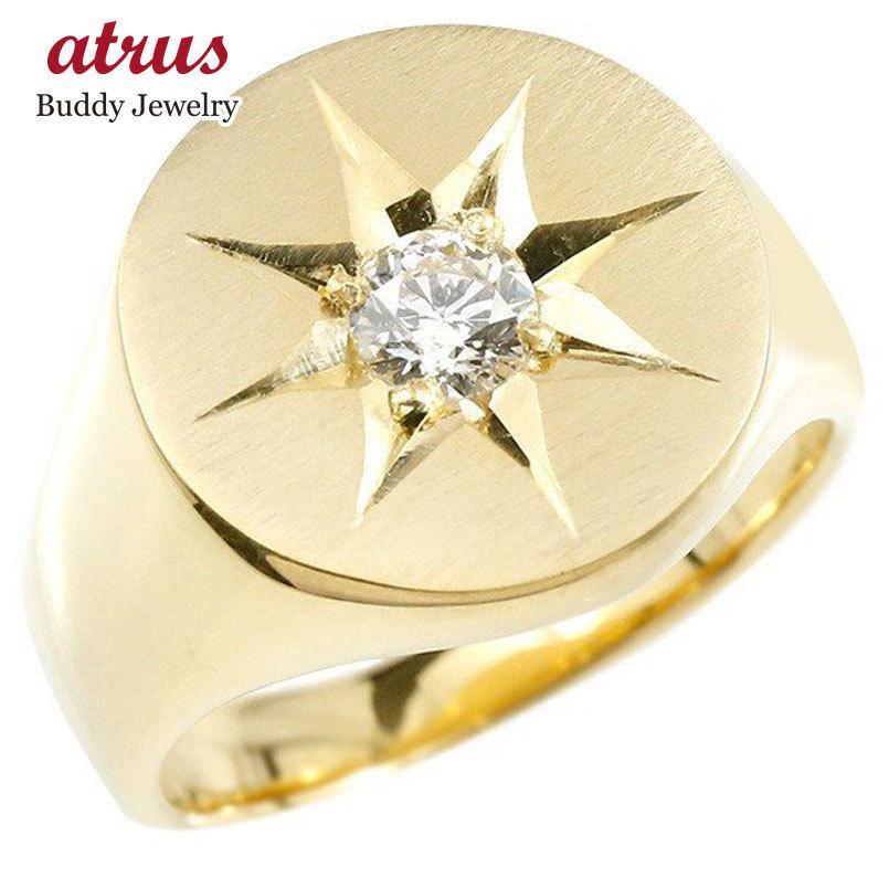 大人気 メンズ リング キュービックジルコニア イエローゴールドk18 印台 幅広 指輪 つや消し サテン仕上げ リング 一粒 大粒 後光留め 18金 男性用 ピンキーリング, 共和町 d7749fa0
