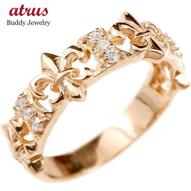新発売 婚約指輪 リング ピンクゴールドk18 キュービックジルコニア ユリの紋章 エンゲージリング 指輪 ピンキーリング 18金 フルール・ド・リス 百合 レディース, 【コンビニ受取対応商品】 45dd6a8d