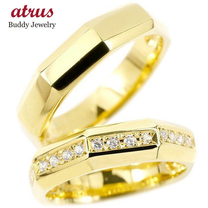 人気 ペアリング 結婚指輪 イエローゴールドk10 キュービックジルコニア 指輪 10金 シンプル マリッジリング リング カップル 2本セット 宝石 送料無料, ムラカミスポーツ 0a4e0df3