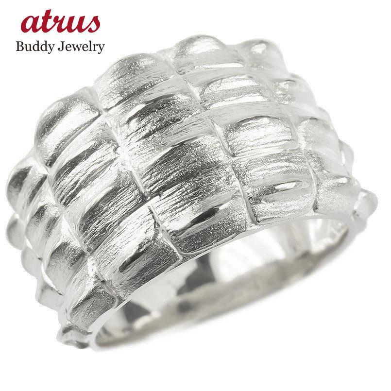 【新発売】 リング メンズ ゴールド 指輪 10k ホワイトゴールドk10 太め クロコダイル シンプル ピンキーリング ワニ 男性 つや消し 幅広 地金 送料無料, CREWBAR LAND 2e5315dd