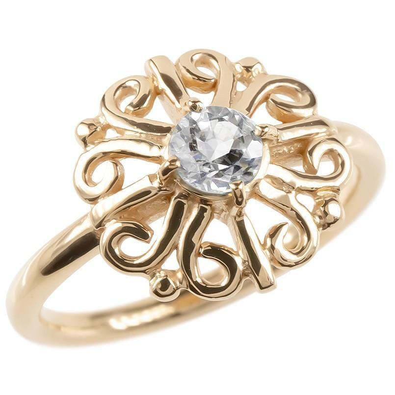 【返品不可】 ゴールド リング ダイヤモンド 一粒 大粒 レディース 指輪 ピンクゴールドk10 婚約指輪 安い エンゲージリング ピンキーリング アラベスク アンティーク 花, 東京デリカオンライン 55a366c3