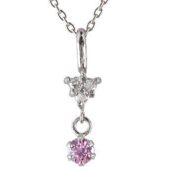 即日発送 ネックレス ピンクサファイア プラチナ一粒 ダイヤモンド 9月誕生石 チェーン 人気 18金 ダイヤ 送料無料, 管楽器のマールミュージック 6a3bd252