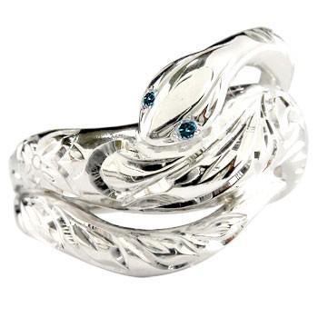 【中古】 リング メンズ 指輪 蛇 ブルーダイヤモンド ホワイトゴールドK18 ダイヤ 18金, 海からのおくりもの 47580644