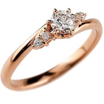 公式 婚約指輪 レディース 鑑定書付き VVS1クラス ピンクゴールドK18 ダイヤモンド ダイヤ 18金, DIY専科 e0797541