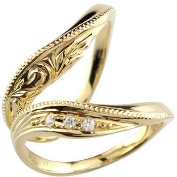 超美品 結婚指輪 レディース 指輪 ダイヤモンド イエローゴールドk10 ダイヤ, 琉球レザーLLA 60aac618