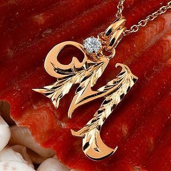 高価値 ネックレス メンズ イニシャル M ダイヤモンド ピンクゴールドk18 18金 ダイヤ, habitchildrenハビットチルドレン 29a2a8e3
