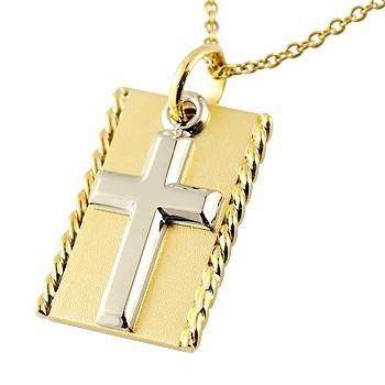 【激安大特価!】 ネックレス メンズ クロス プレート プラチナ イエローゴールドk18 十字架 チェーン 18金, e-フラワー 06fe48f1