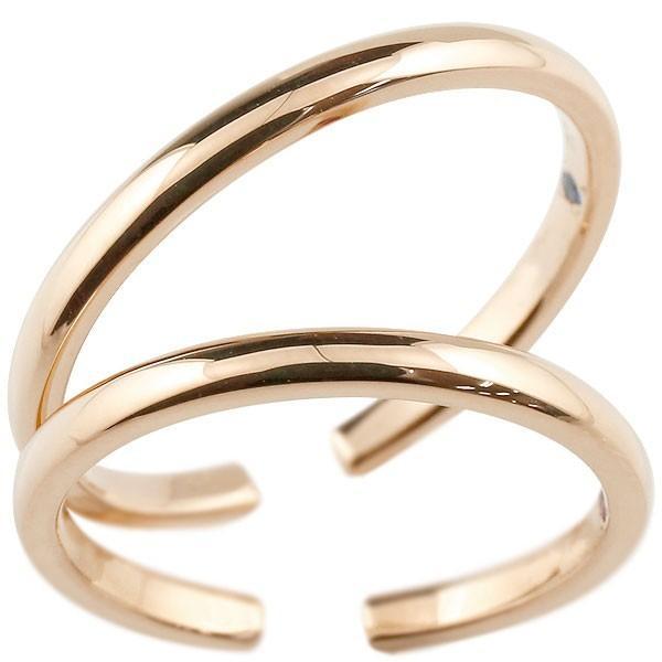 18金 18k ペア トゥリング ペアリング 結婚指輪 マリッジリング ピンクゴールドk18 フリーサイズリング 指輪 天然石 結婚式 ストレート カップル 宝石 送料無料