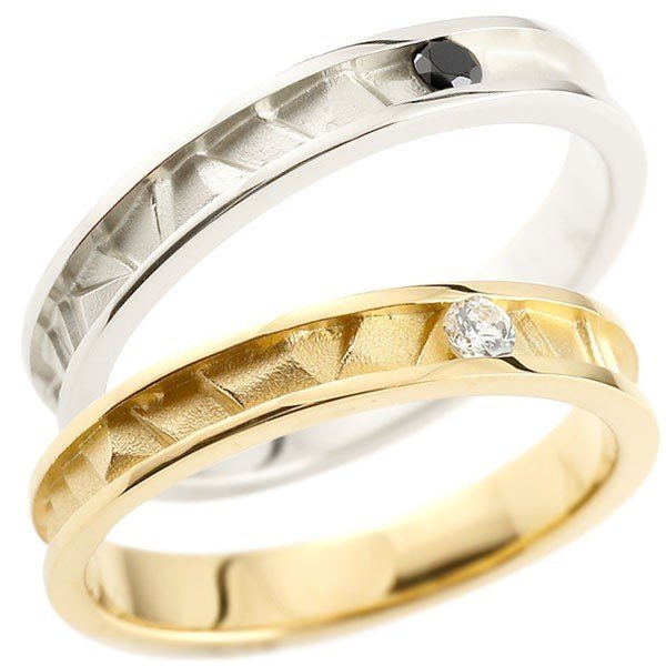 【新発売】 結婚指輪 レディース 指輪 プラチナ ダイヤ ダイヤモンド ブラック イエローゴールドk18 k18, New Village c27c72c6
