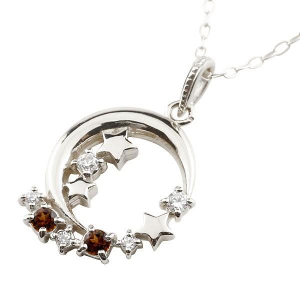 輝く高品質な ネックレス レディース ガーネット ホワイトゴールド ダイヤモンド k10, AMBER 553807a1