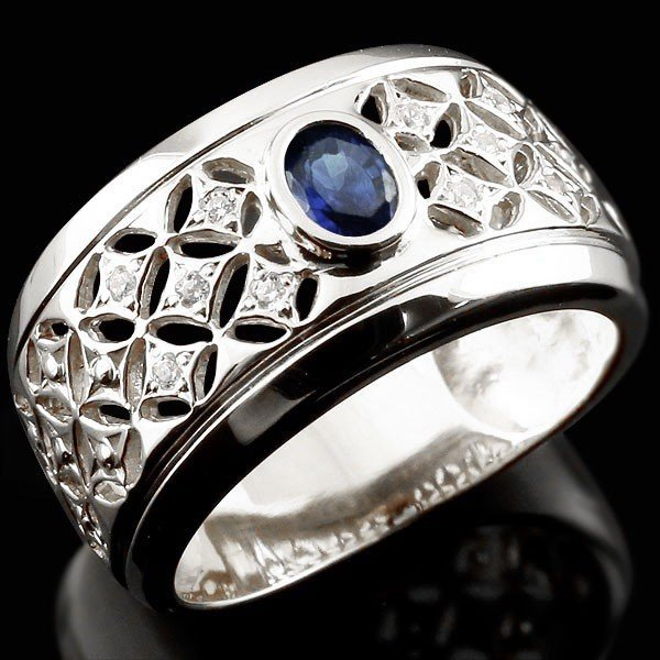 堅実な究極の リング メンズ 指輪 プラチナ サファイア ダイヤモンド, 安心院町 2ca46b6b