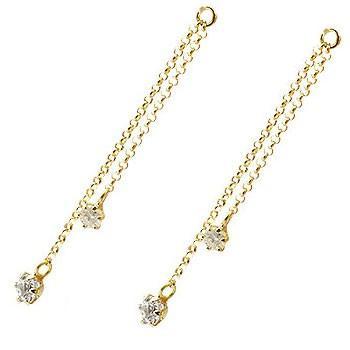 18金 2個 パーツ ピアス用 イヤリング用 イエローゴールドk18 ダイヤモンド シンプル レディース 宝石 送料無料