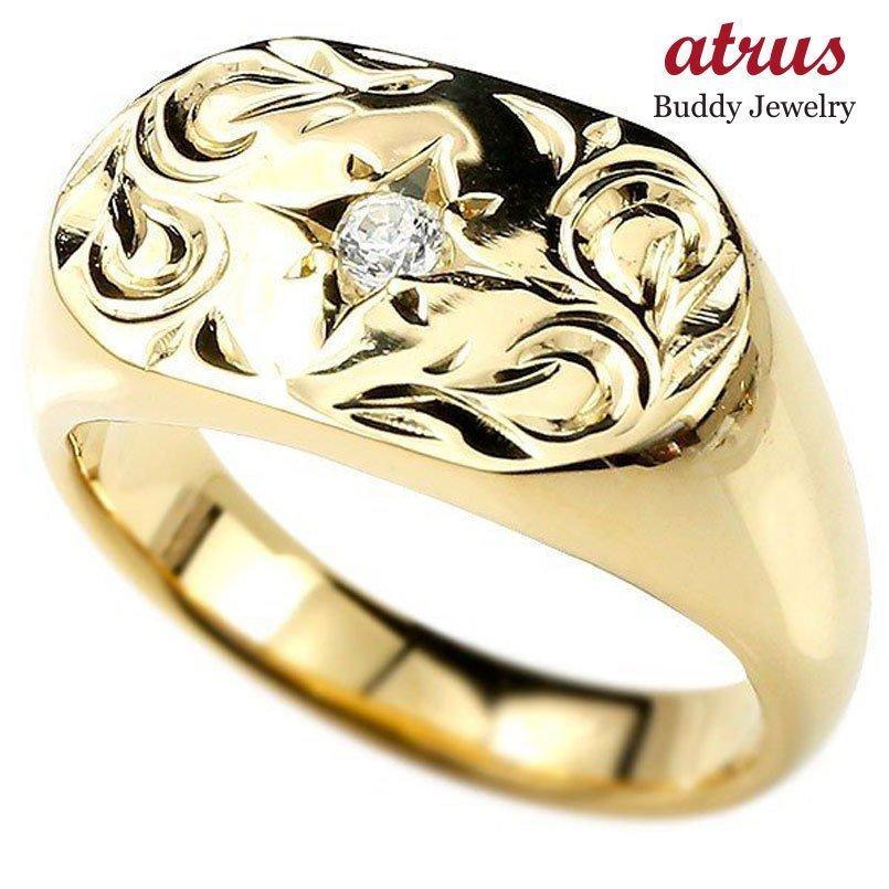 売れ筋商品 リング メンズ 指輪 ダイヤモンド イエローゴールドk18 印台 ダイヤ 18金, マサノスケ b1a2a960