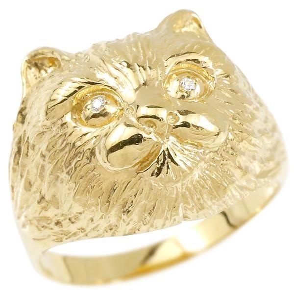 最も  指輪 レディース リング ダイヤモンド 猫 イエローゴールドk10, アイシートレーディング 0a883800