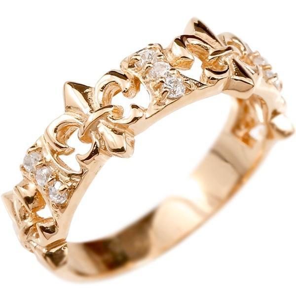 低価格の 指輪 レディース リング ピンクゴールドk10 ダイヤモンド ユリの紋章, スポーツダグアウト 2eda58ca