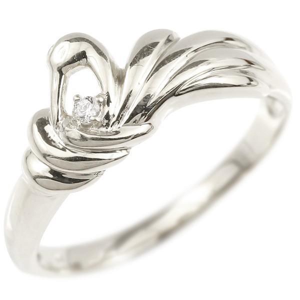 【保証書付】 指輪 レディース リング ホワイトゴールドk10 ダイヤモンド ツル 鶴 つる 鳥, 南国フルーツ-果実村TOKIO 9b346f67