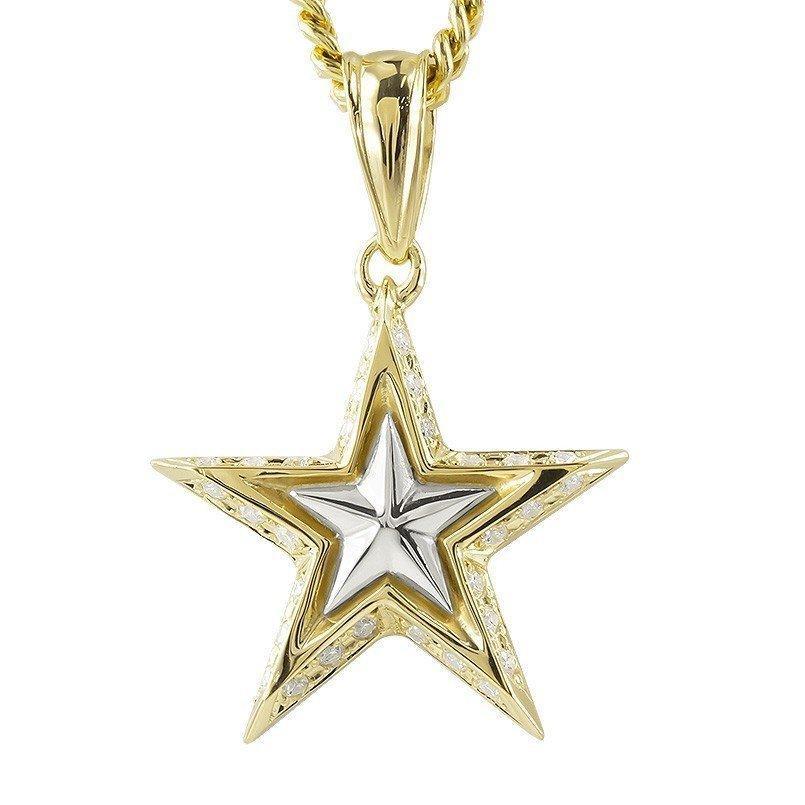 日本最大のブランド ネックレス メンズ 18金 プラチナ ダイヤモンド 星 スター ゴールド イエローゴールドk18 pt900, MDD 2583bbf0
