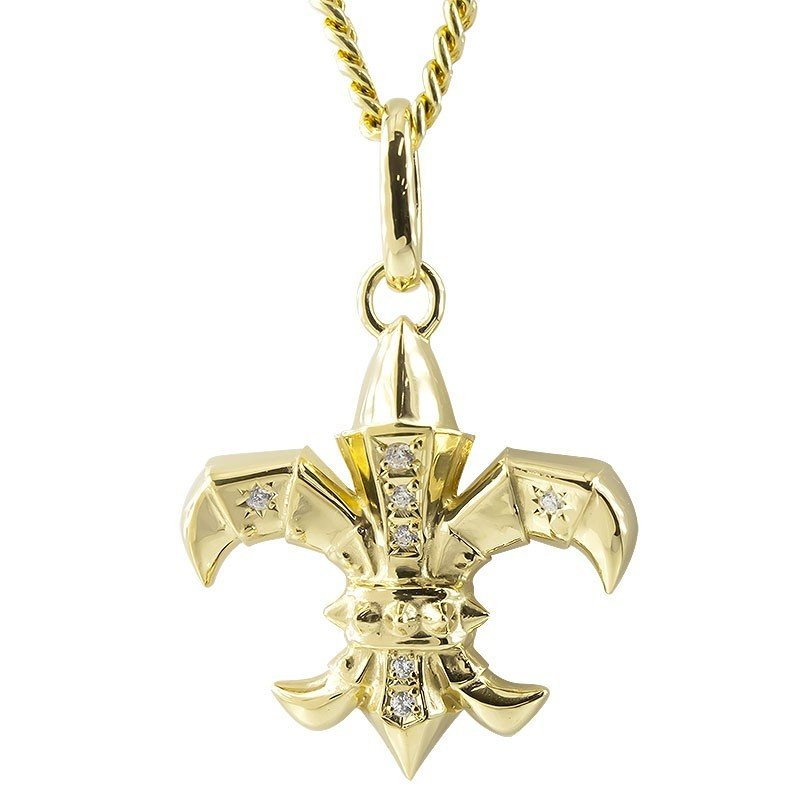 新品本物 ネックレス メンズ 18金 ダイヤモンド ユリの紋章 ゴールド イエローゴールドk18 西洋 鎧 騎士, TEOMARINA ba7c9ff4