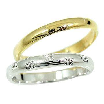 即日発送 結婚指輪 レディース 指輪 ホワイトゴールドk18イエローゴールドk18 ダイヤ ダイヤモンド 18金 ダイヤ, アンカーネットワークサービス 7ca4e1e0