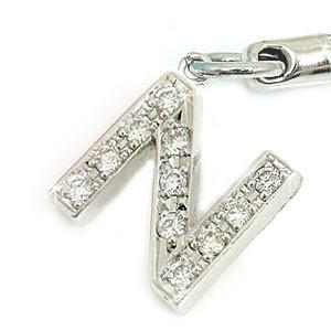 18金 18k ダイヤモンド イニシャル携帯電話ストラップ ホワイトゴールドK18ダイヤモンド 0.22ct ダイヤ 送料無料