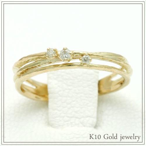 経典ブランド K10ゴールド リング ダイヤモンド(0.05ct) 10金 イエローゴールド K10シリーズ #11号, 暮らし楽市ペーパーイメージ 744e2036