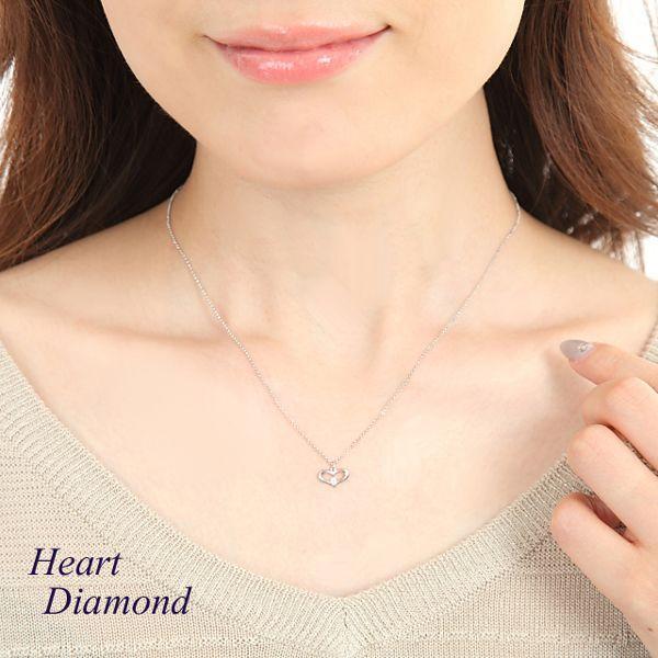 ダイヤモンド ネックレス 一粒 プラチナ ハートモチーフ Pt900 デザイン レディース