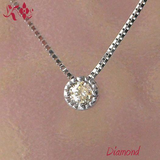 0.1ct 一粒ダイヤモンドネックレス 18金ホワイトゴールド