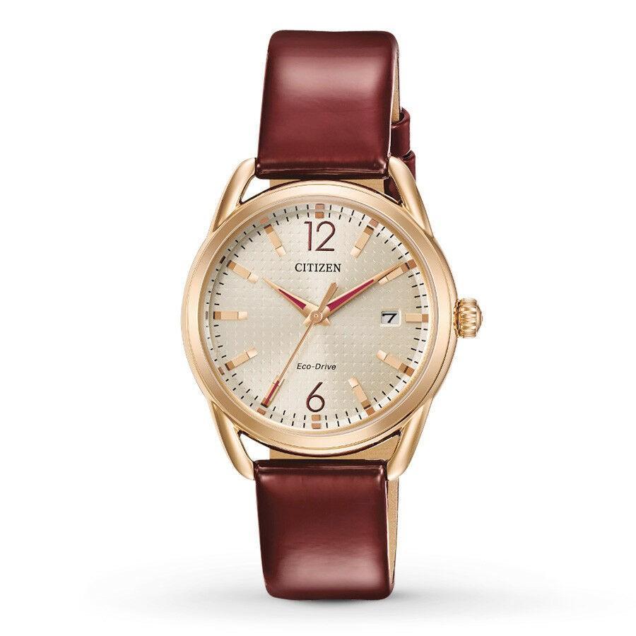 【在庫処分大特価!!】 腕時計 シチズン レディース Citizen Eco-Drive LTR Women's Champagne Dial Burgundy 34mm Watch FE6083-05P, ワインショップソムリエ 1f781523