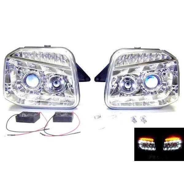 スズキ ジムニー JB23W 全年式 LEDウィンカー LEDプロジェクターフロントインナークロームメッキ ヘッドランプ 左右SET 日本光軸 送料無料|auto-parts-jp