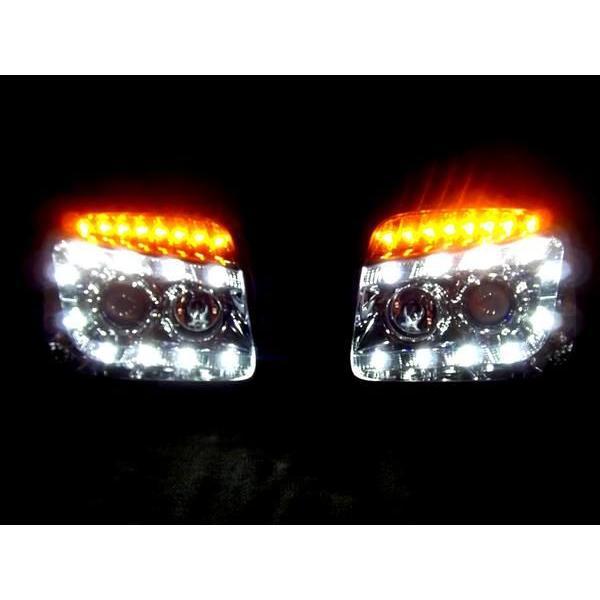 スズキ ジムニー JB23W 全年式 LEDウィンカー LEDプロジェクターフロントインナークロームメッキ ヘッドランプ 左右SET 日本光軸 送料無料|auto-parts-jp|02