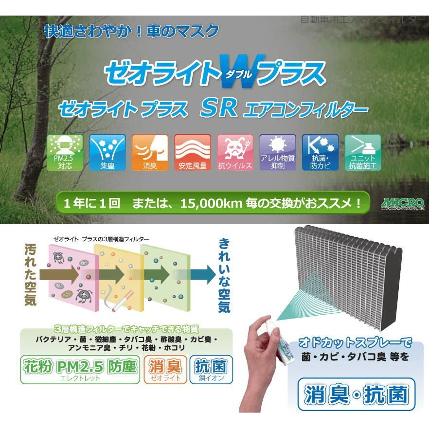 MICRO 日本マイクロフィルター工業 RCF3806W エアコンフィルター ゼオライトWプラス autocenter 02