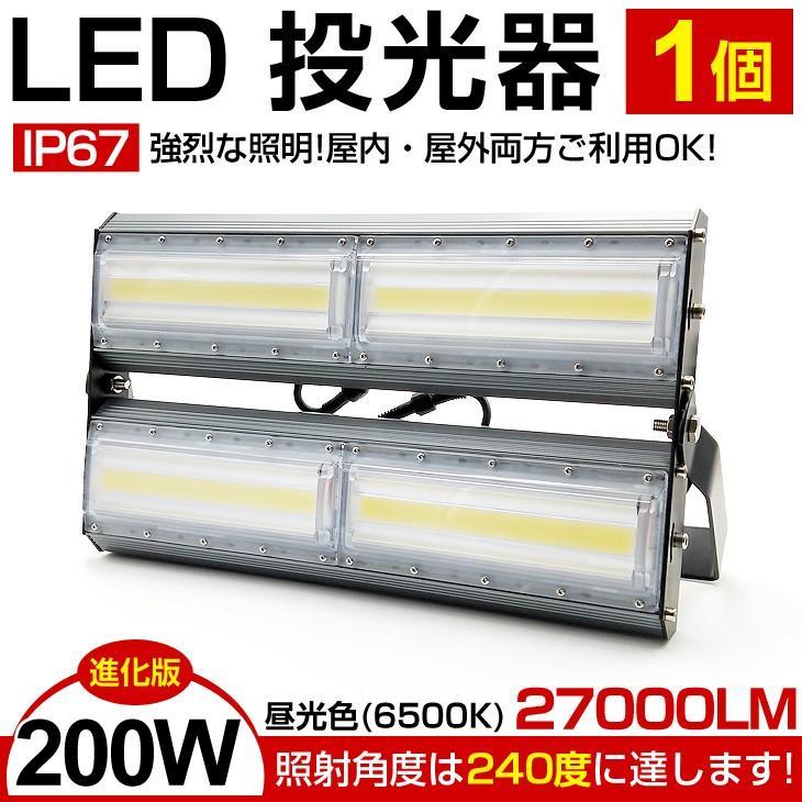 進化版!超薄型!LED投光器 200W・2700W相当 27000LM 昼光色 広角240度 防水 3mコード・PSE付き サーチライト/看板灯/作業灯/駐車場灯/ナイター 即納!1年保証!|autoone