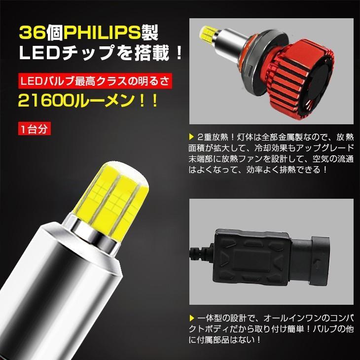 LED一体型ヘッドライト 車検対応 21600LM 6500K 12V専用 360°無死角発光 H4/H8/H11/H16/H7/H1/HB3/HB4/H3/H3C/D1/D2/D3/D4  [送料無料/2個セット]|autoone|03