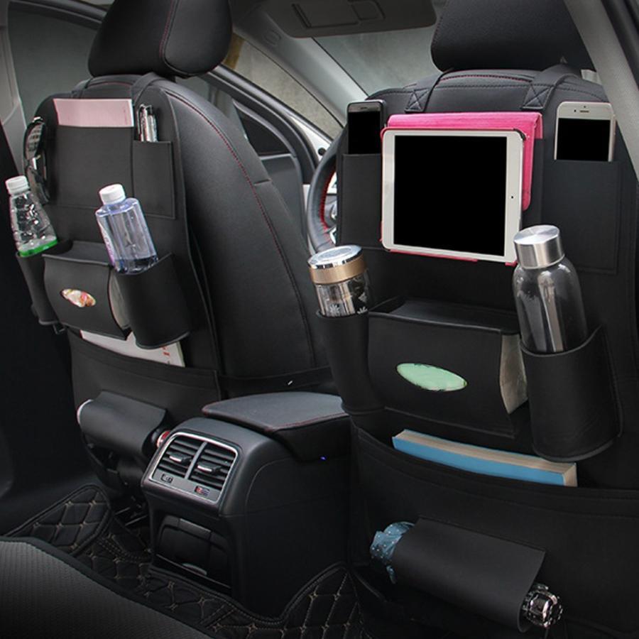 シートバックポケット 収納・ホルダー PUレザー製 取り付け簡単 後部座席 多機能 大容量 車内整理 iPad mini収納ポケット バックシートポケット ブラック|avekt