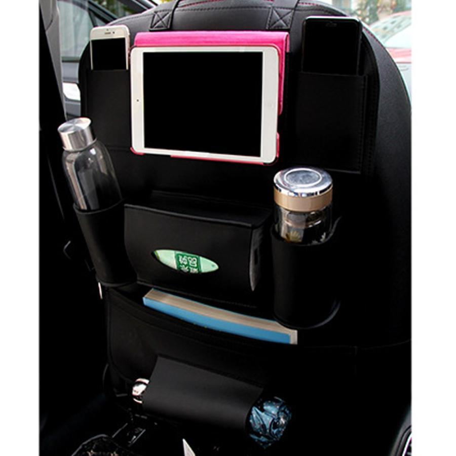 シートバックポケット 収納・ホルダー PUレザー製 取り付け簡単 後部座席 多機能 大容量 車内整理 iPad mini収納ポケット バックシートポケット ブラック|avekt|02