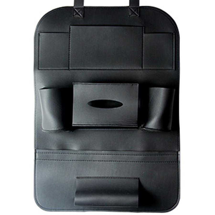 シートバックポケット 収納・ホルダー PUレザー製 取り付け簡単 後部座席 多機能 大容量 車内整理 iPad mini収納ポケット バックシートポケット ブラック|avekt|03