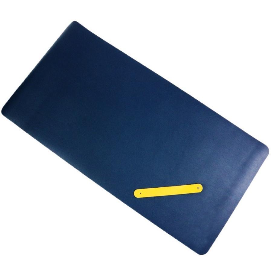 デスクマット 大型マウスパッド もちもち柔らか PUレザー製 青&黄色のリバーシブル 80cm×40cm (ブルー×イエロー)|avekt|02
